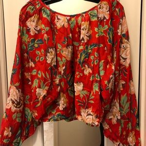 NEW MAEVE ANTHROPOLOGY RED CROP TOP